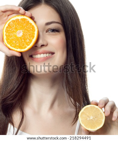closeup portrait of attractive  caucasian smiling woman brunette isolated on white studio shot lips toothy smile face hair head and shoulders looking at camera tooth orange lemon