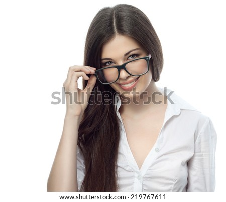 closeup portrait of attractive  caucasian smiling woman brunette isolated on white studio shot lips toothy smile face hair head and shoulders looking at camera tooth glasses businesswoman - stock photo