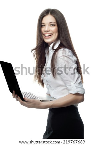 closeup portrait of attractive  caucasian smiling woman brunette isolated on white studio shot lips toothy smile face hair head and shoulders looking at camera notebook laptop businesswoman - stock photo