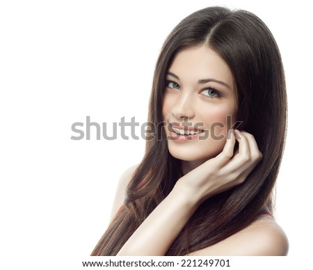closeup portrait of attractive  caucasian smiling woman brunette isolated on white studio shot lips toothy smile face hair head and shoulders looking at camera tooth - stock photo