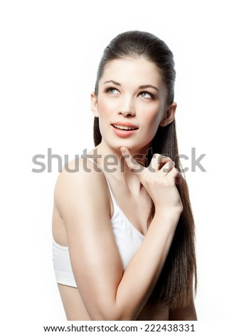 closeup portrait of attractive  caucasian smiling woman brunette isolated on white studio shot lips face hair head and shoulders looking up