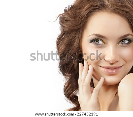 closeup portrait of attractive  caucasian smiling woman brunette isolated on white studio shot lips smile face hair head and shoulders skin - stock photo