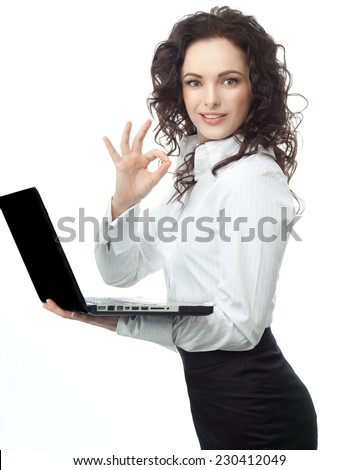 closeup portrait of attractive  caucasian smiling woman brunette isolated on white studio shot lips toothy smile face hair businesswoman notebook laptop computer ok - stock photo