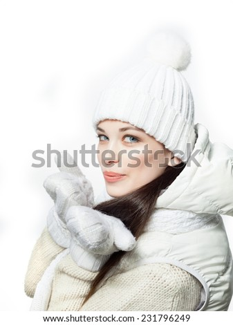 closeup portrait of attractive  caucasian smiling woman brunette isolated on white studio shot lips  face hair head and shoulders looking at camera warm clothing winter christmas - stock photo