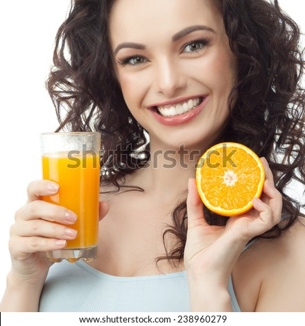 closeup portrait of attractive  caucasian smiling woman brunette isolated on white studio shot lips toothy smile face hair head and shoulders looking at camera tooth drinking orange juice - stock photo