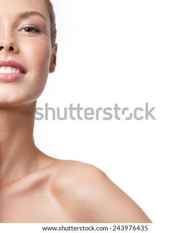 closeup portrait of attractive  caucasian smiling woman brunette isolated on white studio shot lips toothy smile face head and shoulders looking at camera tooth  - stock photo
