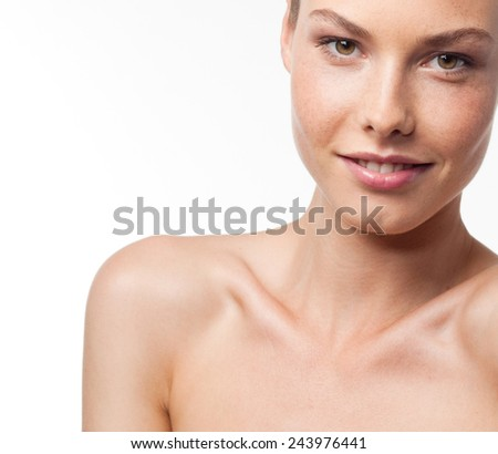 closeup portrait of attractive  caucasian smiling woman brunette isolated on white studio shot lips  face head and shoulders looking at camera  - stock photo