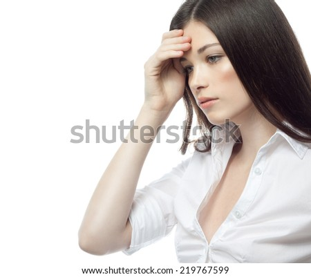 closeup portrait of attractive  caucasian woman brunette isolated on white studio shot lips face hair head and shoulders sad problem