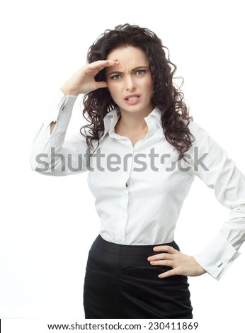 closeup portrait of attractive  caucasian  woman brunette isolated on white studio shot lips  face hair head and shoulders looking at camera businesswoman problems serios - stock photo