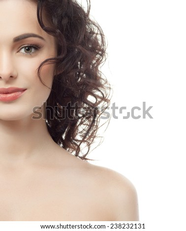 closeup portrait of attractive  caucasian woman brunette isolated on white studio shot lips face hair head and shoulders looking at camera