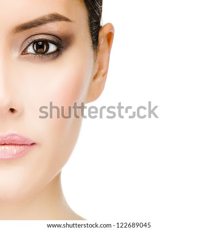 closeup portrait of attractive  caucasian woman brunette isolated on white studio shot looking at camera skin face eyes lips - stock photo