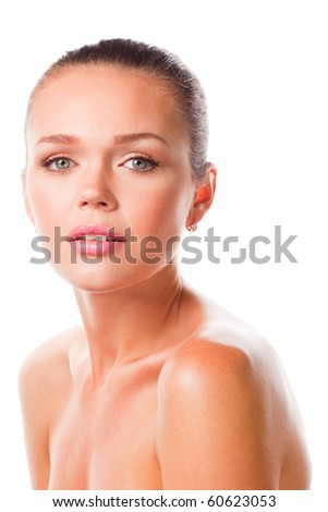 closeup portrait of attractive caucasian woman with makeup isolated on white background - stock photo