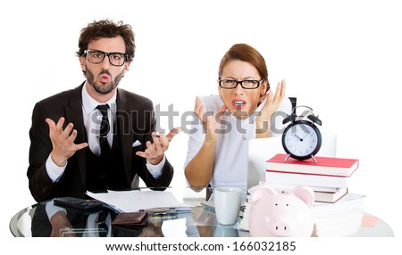Closeup portrait of attractive couple, handsome man, beautiful woman, looking distressed from financial problems, mounting bills, isolated on white background. Good, bad finance decision. Bank mistake
