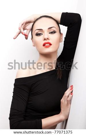 closeup portrait of attractive female on white background - stock photo