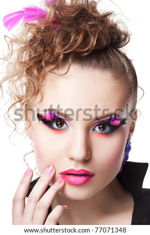 closeup portrait of attractive female with colorful makeup isolated on white background - stock photo