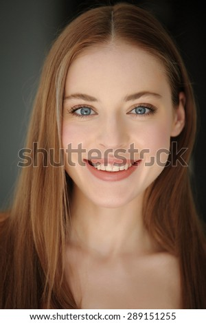 Closeup portrait of attractive teenager girl smiling in cheerful mood - stock photo