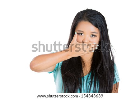 Closeup portrait of attractive woman covering his mouth. Speak no evil concept, isolated on white background - stock photo