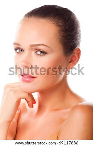 closeup portrait of attractive young adult - stock photo