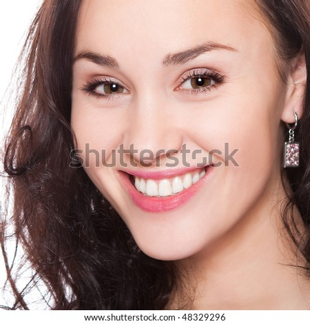 closeup portrait of attractive young adult on white - stock photo