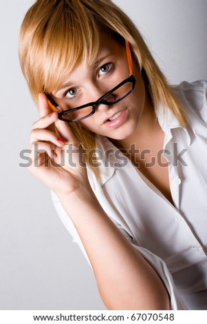closeup portrait of attractive young businesswoman