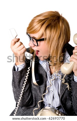 closeup portrait of attractive young businesswoman with three phones on white background - stock photo