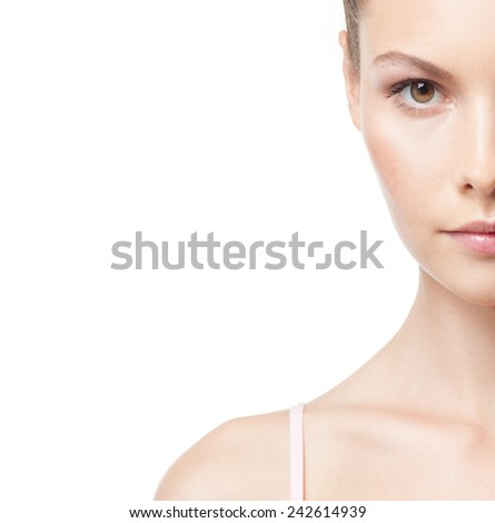 closeup portrait of attractive young caucasian woman brunette isolated on white studio shot lips face hair head and shoulders looking at camera  - stock photo
