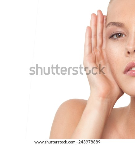 closeup portrait of attractive young  caucasian woman  isolated on white studio shot lips  face hair head and shoulders looking at camera  - stock photo