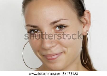 closeup portrait of attractive young woman - stock photo