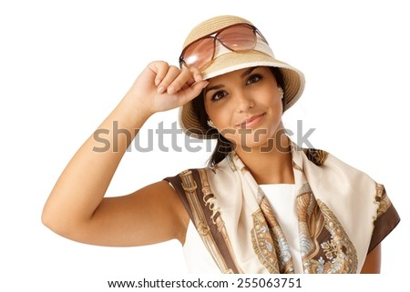 Closeup portrait of attractive young woman at summertime in hat. - stock photo