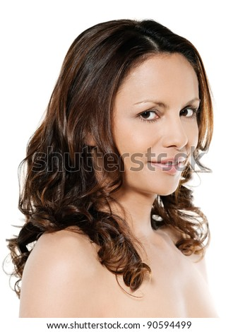 Closeup portrait of beautiful Asian woman smiling in studio isolated on white background smiling - stock photo