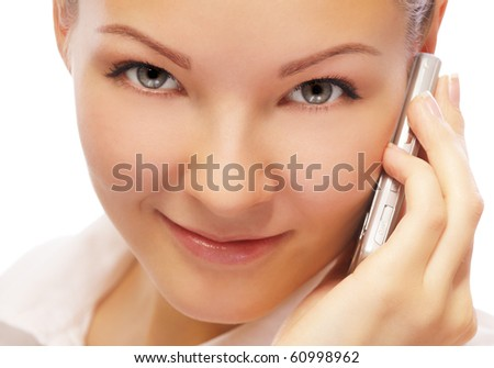 closeup portrait of beautiful blonde girl with cellphone on white