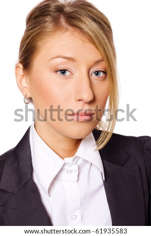 closeup Portrait of Beautiful business woman isolated on white - stock photo