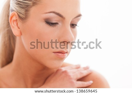 Closeup portrait of beautiful caucasian woman with day makeup