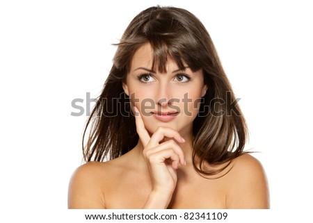 Closeup portrait of beautiful female, isolated on white background - stock photo
