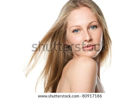 Closeup portrait of beautiful female model, isolated on white background - stock photo