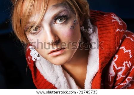 closeup portrait of beautiful lady - stock photo