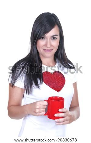 Closeup portrait of beautiful woman drinking coffee on white background - stock photo