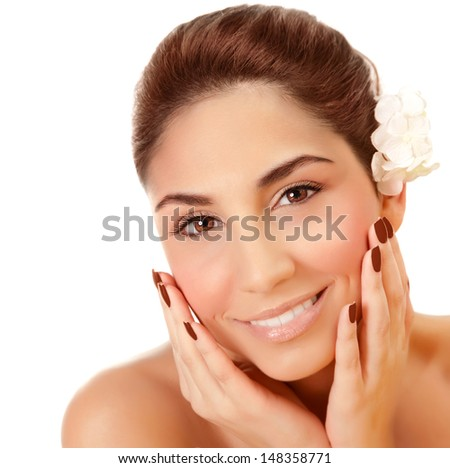 Closeup portrait of beautiful woman with fresh flower in head isolated on white background, enjoying day spa, skin care, health and beauty concept - stock photo