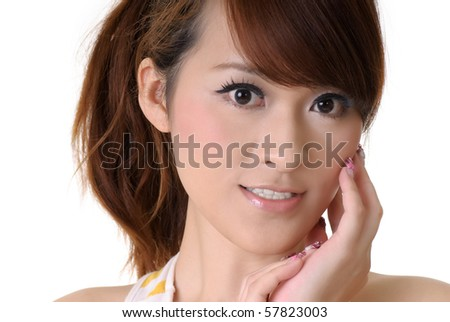 Closeup portrait of beautiful young girl of Chinese on white background. - stock photo