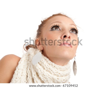 closeup portrait of beautiful young woman looking up