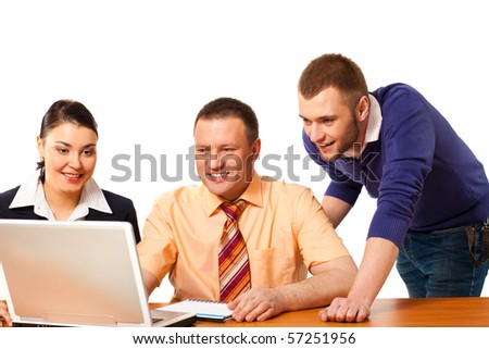 closeup portrait of business people isolated on white background - stock photo