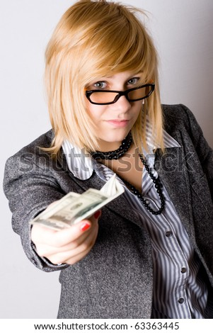 closeup portrait of businesswoman with money - stock photo