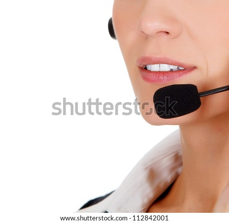 Closeup portrait of call center operator against white background.