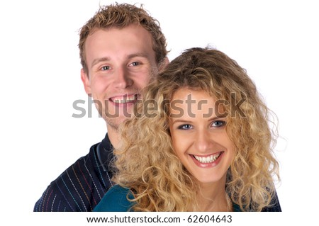 Closeup portrait of cheerful couple over white background - stock photo