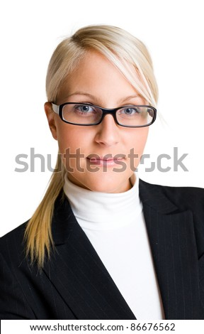 Closeup portrait of confident blond business woman isolated on white background. - stock photo