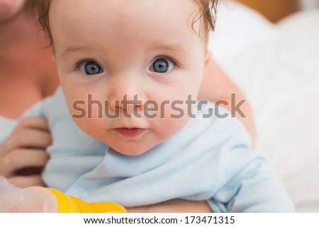 Closeup portrait of cute baby boy - stock photo