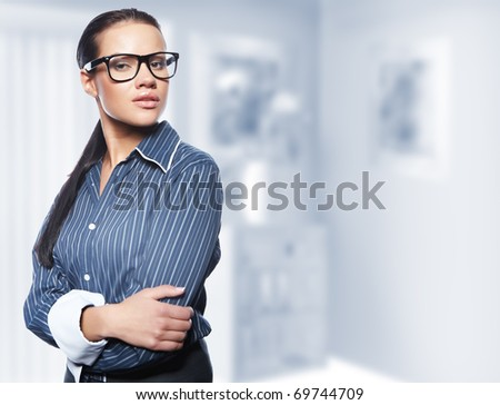 Closeup portrait of cute young business woman - stock photo