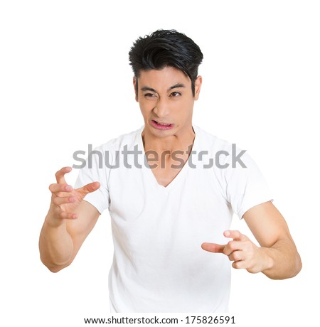 Closeup portrait of displeased, pissed off, angry, upset, screaming man with bad attitude, messed up, looking neurotic, isolated on white background. Negative human emotion facial expression - stock photo