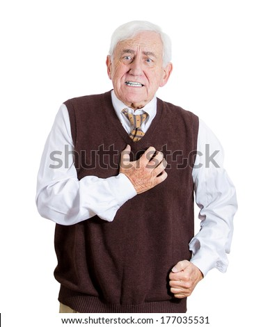 Closeup portrait of elderly male executive, old corporate employee having sudden chest, heart pain, heartburn, trying to catch his breath, suffocating, or showing disgust, isolated on white background - stock photo