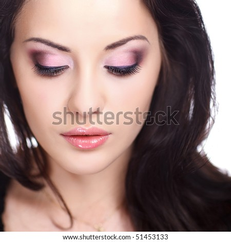 closeup portrait of female with beautiful makeup - stock photo